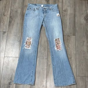 Lucky Brand Dungarees Distressed Patchwork Jeans